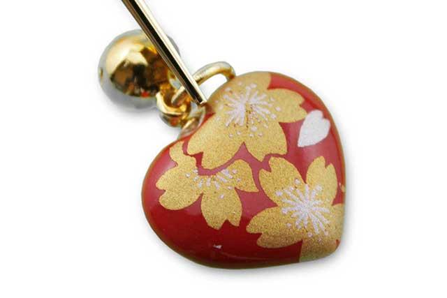 有田焼ブックマーカーハート 赤金桜