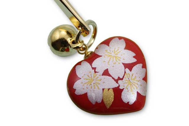 有田焼ブックマーカーハート 赤銀桜