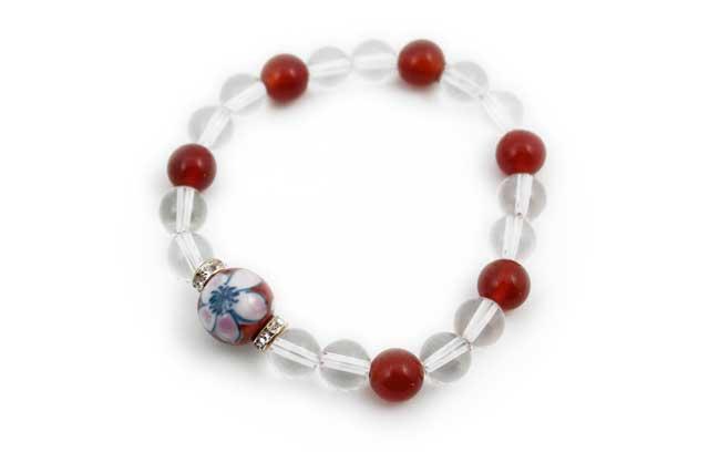 有田焼と天然石のブレスレット(Arvo) 錦桜水晶メノウ