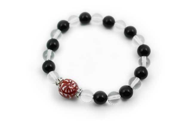 有田焼と天然石のブレスレット(Arvo) 赤たこ唐草紋様水晶オニキス