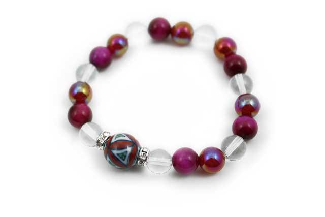 有田焼と天然石のブレスレット(Arvo) 赤七宝紋様水晶タイガーアイメノウ