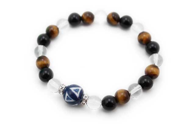 有田焼と天然石のブレスレット(Arvo) 染付七宝紋様水晶オニキスタイガーアイ