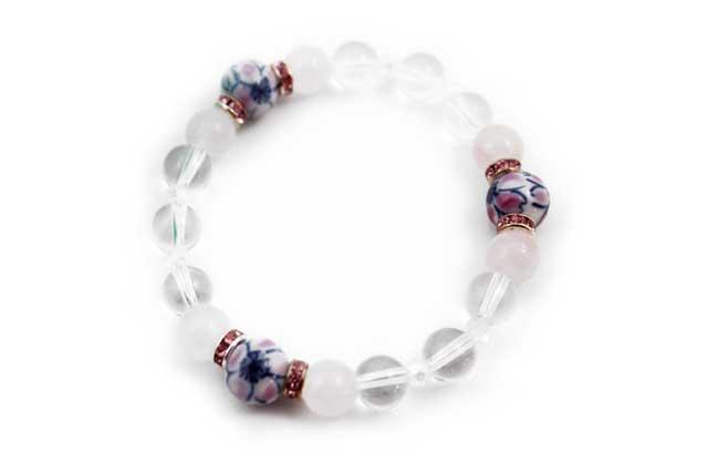 有田焼と天然石のブレスレット(Arvo) 三つ玉錦桜ローズクォーツ水晶