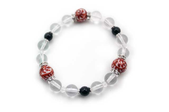 有田焼と天然石のブレスレット(Arvo) 三つ玉赤たこ唐草紋様水晶オニキス
