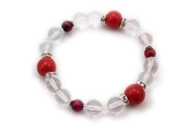有田焼と天然石のブレスレット(Arvo) 三つ玉赤水晶タイガーアイ