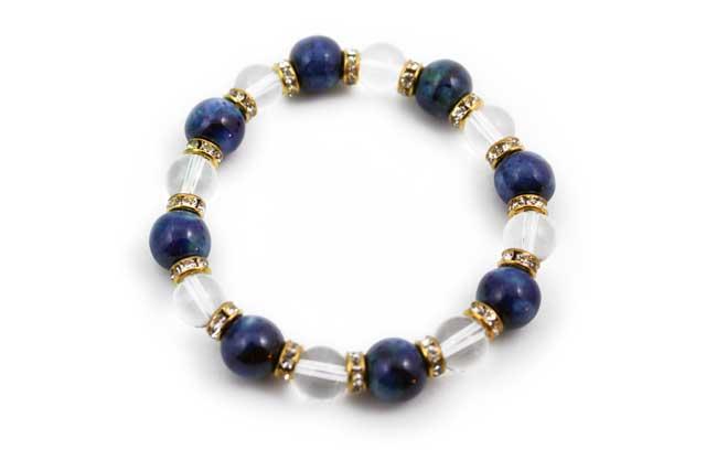 有田焼と天然石のブレスレット(Arvo) 八つ玉釉彩瑠璃ブルー水晶