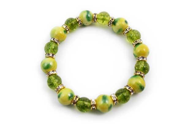 有田焼と天然石のブレスレット(Arvo) 八つ玉釉彩黄グリーンペリドット