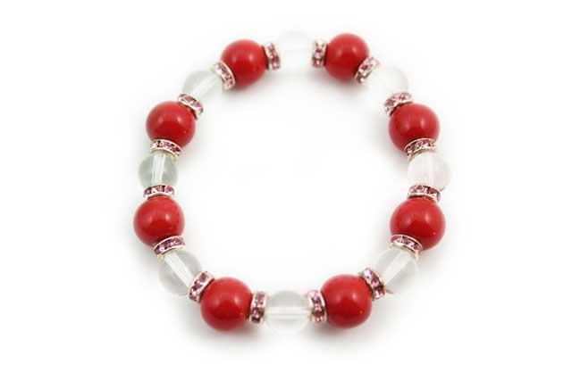 有田焼と天然石のブレスレット(Arvo) 八つ玉赤水晶