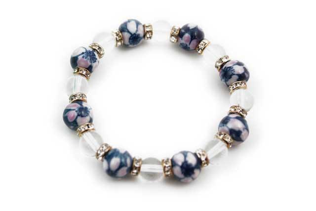 有田焼と天然石のブレスレット(Arvo) 八つ玉染錦桜水晶