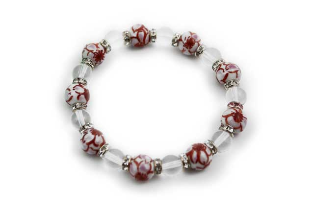 有田焼と天然石のブレスレット(Arvo) 九つ玉錦桜紋様水晶