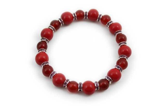 有田焼と天然石のブレスレット(Arvo) 九つ玉赤メノウ