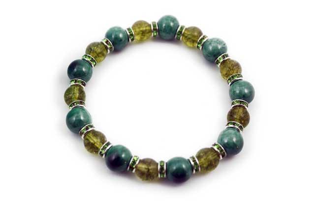 有田焼と天然石のブレスレット(Arvo) 九つ玉釉彩グリーンペリドット