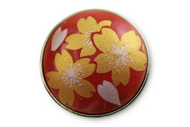 有田焼ボタン 赤金桜
