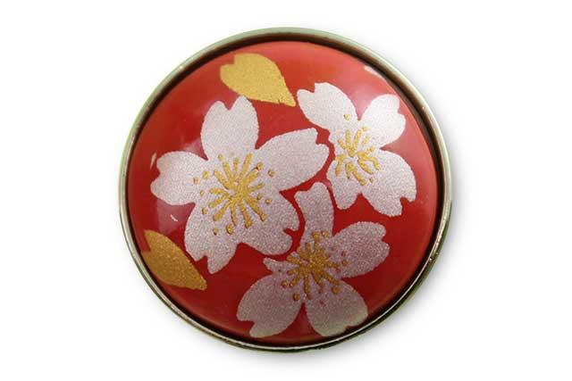 有田焼ボタン 赤銀桜