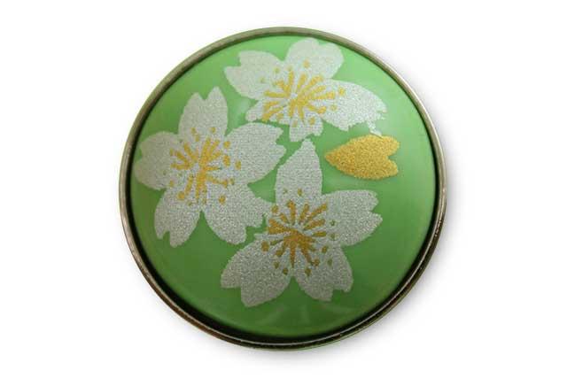 有田焼ボタン グリーン銀桜