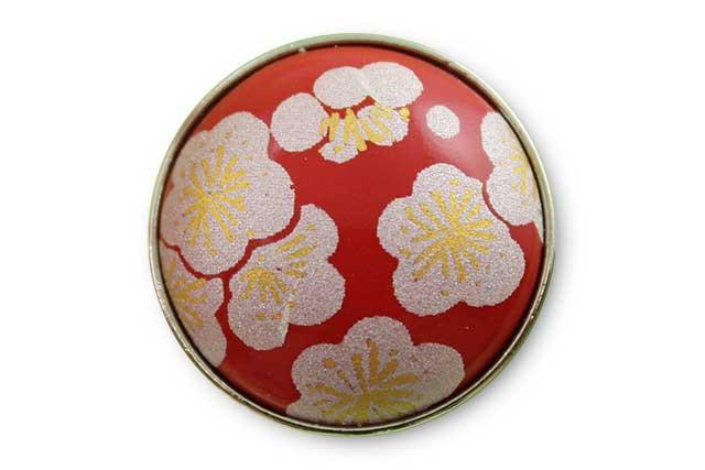 有田焼ボタン 赤銀梅