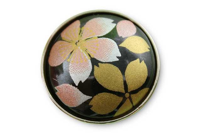 有田焼ボタン 黒桜吹雪(ピンク)