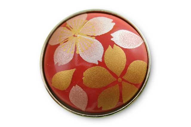 有田焼ボタン 赤桜吹雪