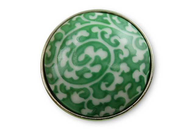 有田焼ボタン 緑唐草