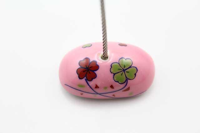やきもの 焼き物 陶磁器 アクセサリー 小物雑貨 有田焼カードクリップ ピンククローバー