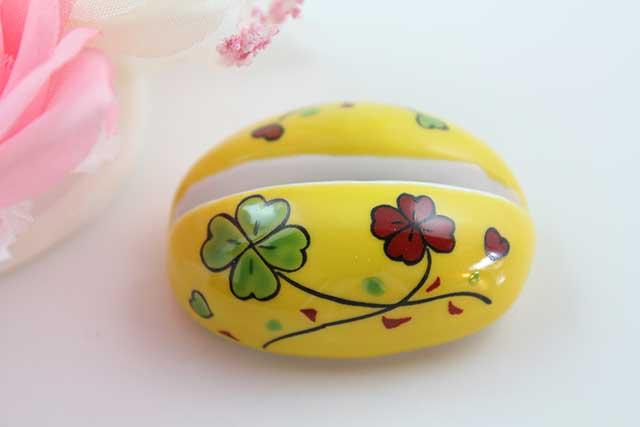 やきもの 焼き物 陶磁器 アクセサリー 小物雑貨 有田焼カード・写真立て 黄クローバー