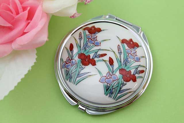 やきもの 焼き物 陶磁器 アクセサリー 小物雑貨 有田焼コンパクトミラー アヤメ