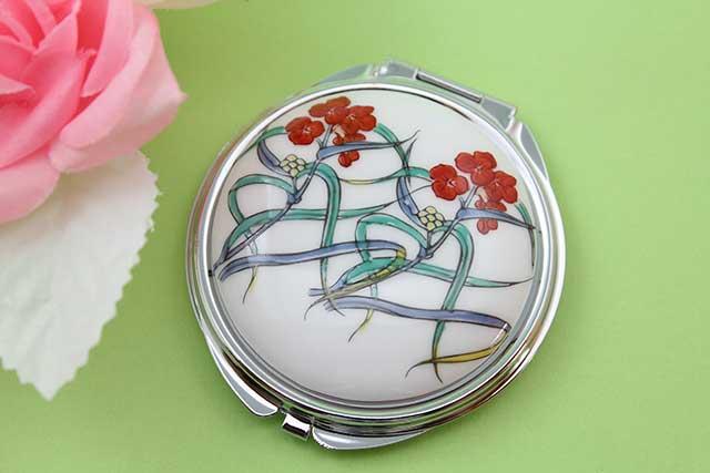 やきもの 焼き物 陶磁器 アクセサリー 小物雑貨 有田焼コンパクトミラー つゆ草