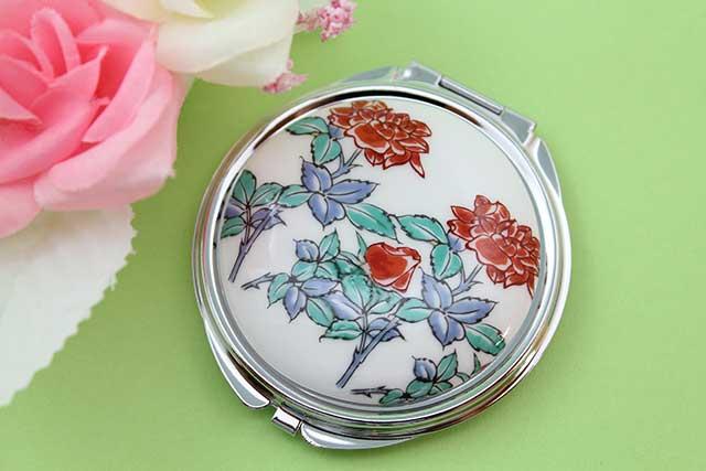 やきもの 焼き物 陶磁器 アクセサリー 小物雑貨 有田焼コンパクトミラー バラ