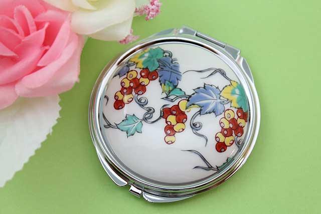 やきもの 焼き物 陶磁器 アクセサリー 小物雑貨 有田焼コンパクトミラー ぶどう