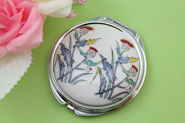 やきもの 焼き物 陶磁器 アクセサリー 小物雑貨 有田焼コンパクトミラー アザミ