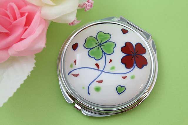 やきもの 焼き物 陶磁器 アクセサリー 小物雑貨 有田焼コンパクトミラー クローバー