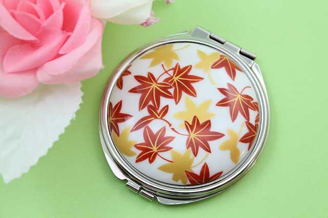 やきもの 焼き物 陶磁器 アクセサリー 小物雑貨 有田焼コンパクトミラー もみじ