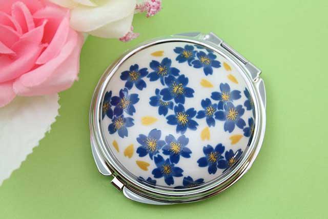 やきもの 焼き物 陶磁器 アクセサリー 小物雑貨 有田焼コンパクトミラー ブルー桜