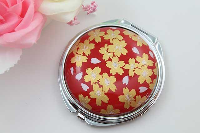 やきもの 焼き物 陶磁器 アクセサリー 小物雑貨 有田焼コンパクトミラー 赤金桜