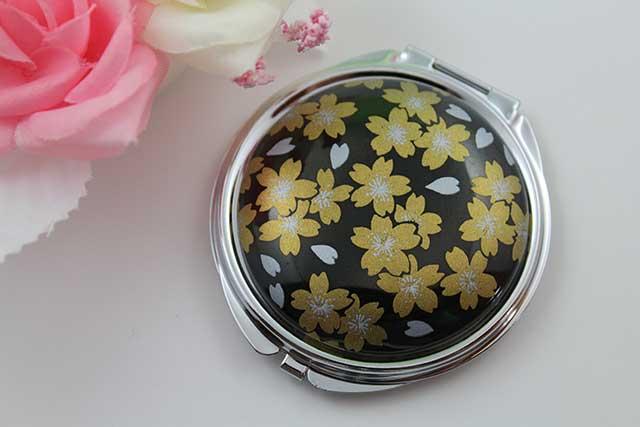 やきもの 焼き物 陶磁器 アクセサリー 小物雑貨 有田焼コンパクトミラー 黒金桜