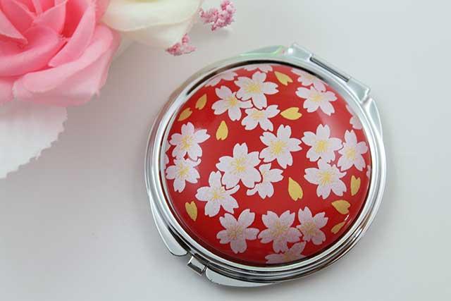 やきもの 焼き物 陶磁器 アクセサリー 小物雑貨 有田焼コンパクトミラー 赤銀桜