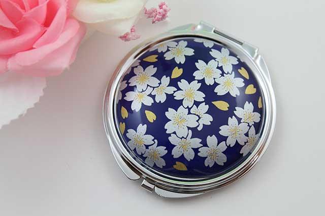 やきもの 焼き物 陶磁器 アクセサリー 小物雑貨 有田焼コンパクトミラー るり銀桜