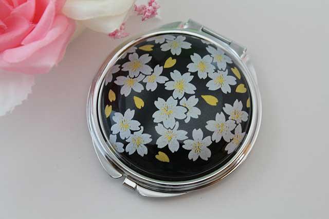 やきもの 焼き物 陶磁器 アクセサリー 小物雑貨 有田焼コンパクトミラー 黒銀桜