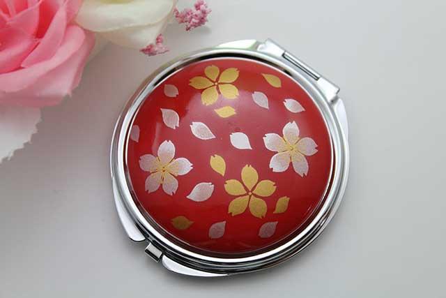 やきもの 焼き物 陶磁器 アクセサリー 小物雑貨 有田焼コンパクトミラー 赤桜吹雪