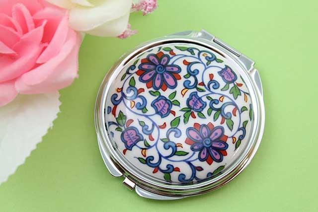 やきもの 焼き物 陶磁器 アクセサリー 小物雑貨 有田焼コンパクトミラー 花唐草