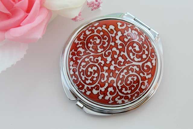 やきもの 焼き物 陶磁器 アクセサリー 小物雑貨 有田焼コンパクトミラー 赤唐草