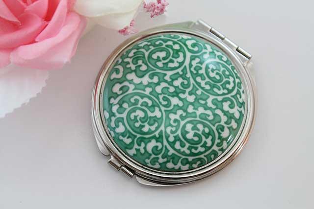 やきもの 焼き物 陶磁器 アクセサリー 小物雑貨 有田焼コンパクトミラー 緑唐草