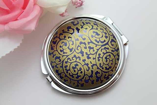 やきもの 焼き物 陶磁器 アクセサリー 小物雑貨 有田焼コンパクトミラー るり金唐草