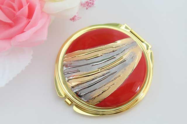 やきもの 焼き物 陶磁器 アクセサリー 小物雑貨 有田焼コンパクトミラー 流星レッド