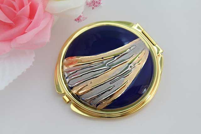 やきもの 焼き物 陶磁器 アクセサリー 小物雑貨 有田焼コンパクトミラー 流星ブルー