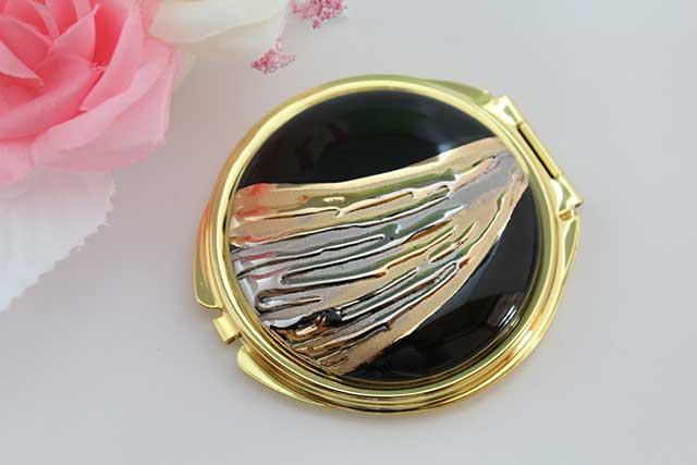 やきもの 焼き物 陶磁器 アクセサリー 小物雑貨 有田焼コンパクトミラー 流星ブラック