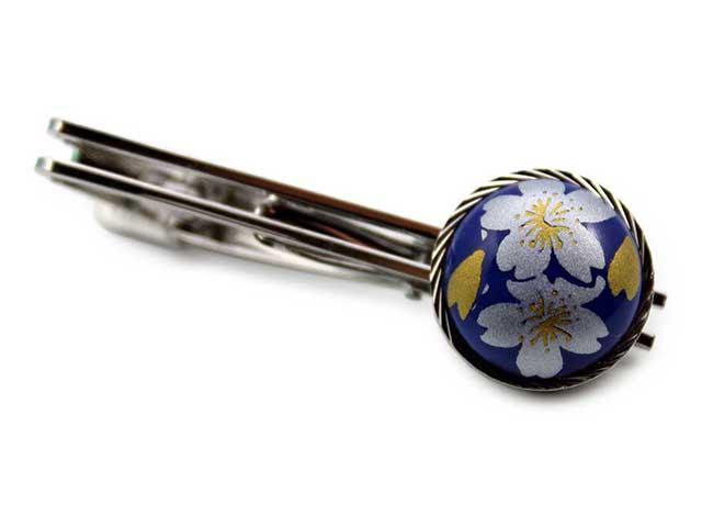 有田焼タイピン るり銀桜 丸型