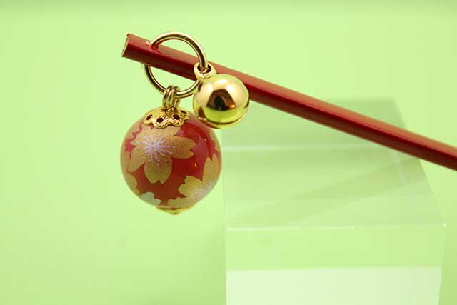 有田焼耳かき 赤金桜