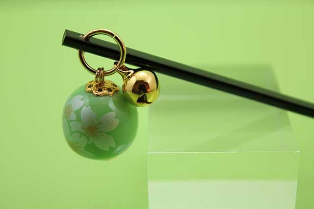 有田焼耳かき グリーン銀桜