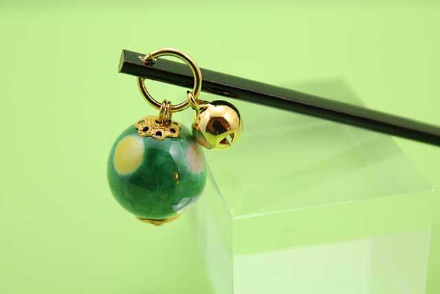 有田焼耳かき 緑水玉